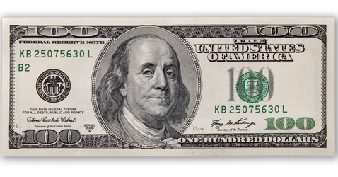 one hundred dollars bill isolated on white